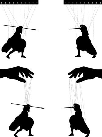 teatro antiguo: marionetas. segunda variante. ilustración vectorial Vectores