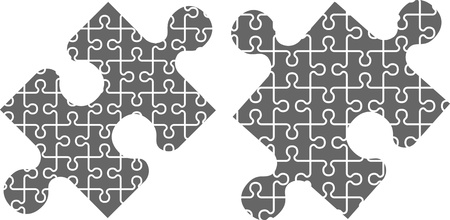 puzzling: two puzzle pieces. stencil. vector illustration