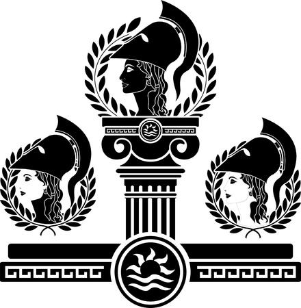 mythologie: Herrlichkeit des Athena. Schablone. Vektor-Illustration