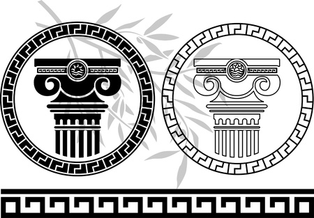 ionic: hellenic columns and olive branch. second variant. stencil. vector illustration  Illustration