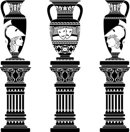 antyk: dzbanki grecki z kolumn. Drugi wariant. szablon. ilustracji wektorowych Ilustracja