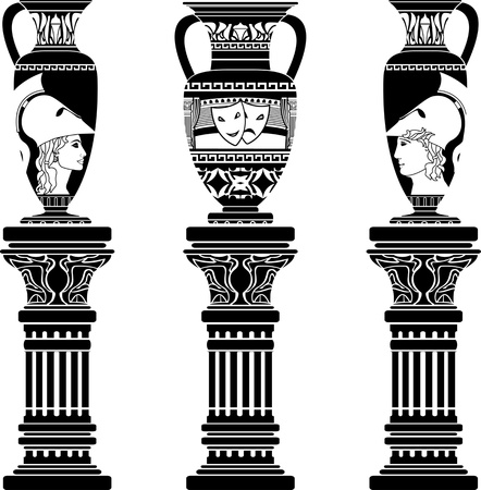 antiquity: hellenic jugs with columns. second variant. stencil. vector illustration