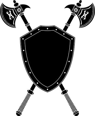 escudo militar: ejes larga y un escudo. plantilla. ilustraci�n vectorial
