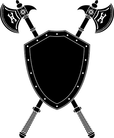 military shield: long axes and shield. stencil. vector illustration