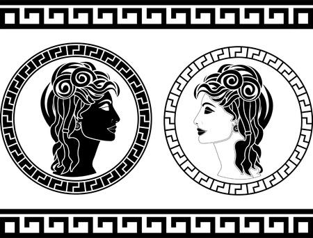 antigua grecia: perfiles de la mujer romana. plantilla. ilustración vectorial