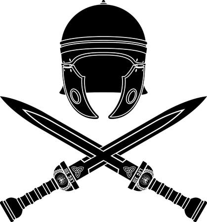 cascos romanos: roman casco y espadas. segunda variante. plantilla. ilustración vectorial