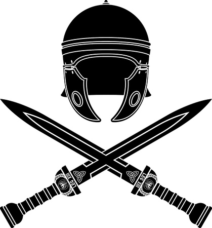 centurion: roman helmet and swords. second variant. stencil. vector illustration