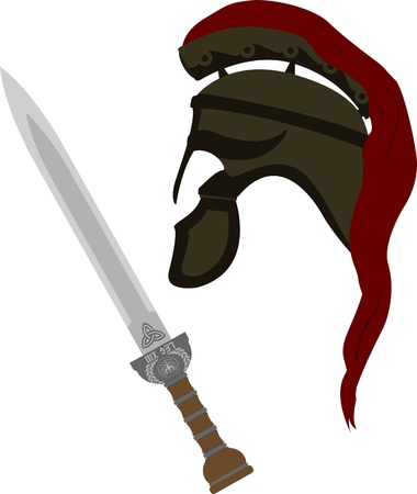 war decoration: roman helmet and sword. vector illustration