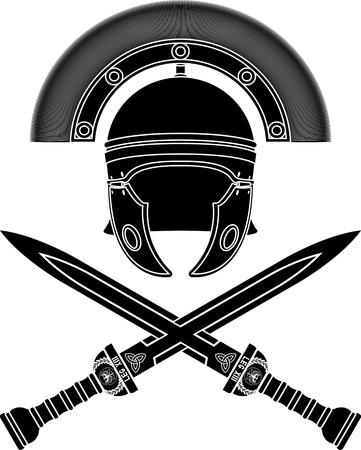 оружие: римский шлем и меч. Третий вариант. трафарет. векторные иллюстрации Иллюстрация