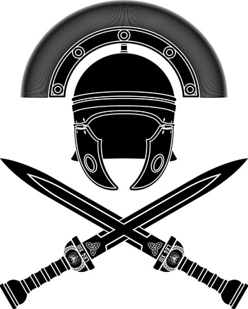 centurion: roman helmet and swords. third variant. stencil. vector illustration