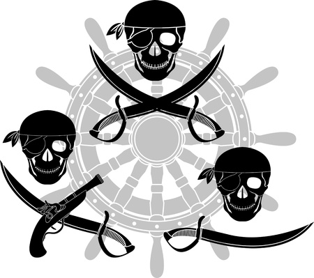 set of pirate signs. stencils. vector illustration Vector