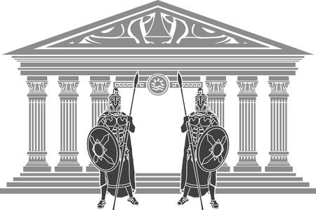 spartano: due titani e tempio di Atlantide. stencil. illustrazione vettoriale Vettoriali