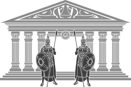 ancient greek: two titans and temple of atlantis. stencil. vector illustration