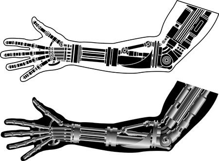 bionico: mano cibernetica con stencil. seconda variante. illustrazione vettoriale