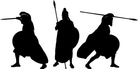cascos romanos: siluetas de los antiguos guerreros. ilustración vectorial