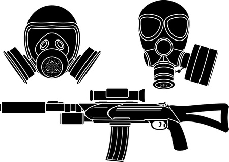 gas mask: sniper rifle and gas masks. stencil. vector illustration Illustration