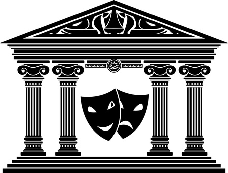 hellenic: theatre. stencil. vector illustration for design Illustration