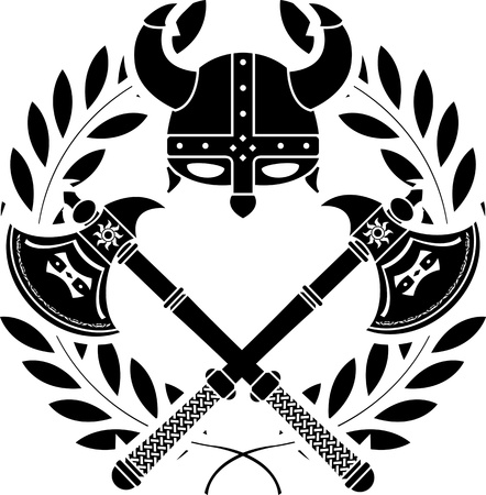 military helmet: viking glory. stencil. first variant. vector illustration