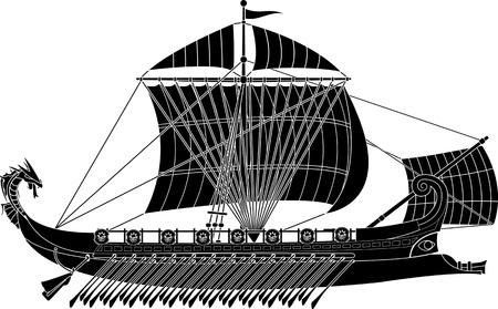 ancient fantasy ship. stencil. vector illustration Stock Vector - 11382222