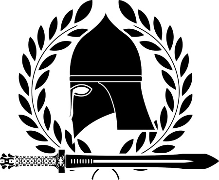 fantasy barbarian sword and helmet. vector illustration