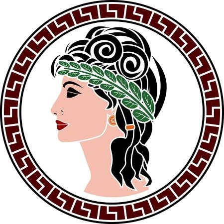 arte greca: le donne patrizie. stencil. prima variante. illustrazione vettoriale