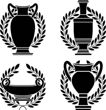 vasi greci: serie di anfore e vasi ellenico. stencil. illustrazione vettoriale