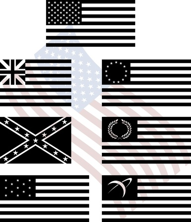 social history: stencils of american flags. second variant. vector illustration