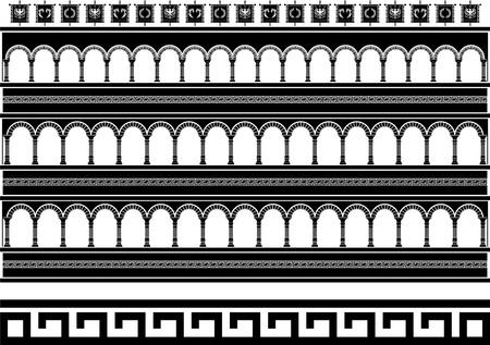 ancient rome: fantasy colosseum. stencil. vector illustration