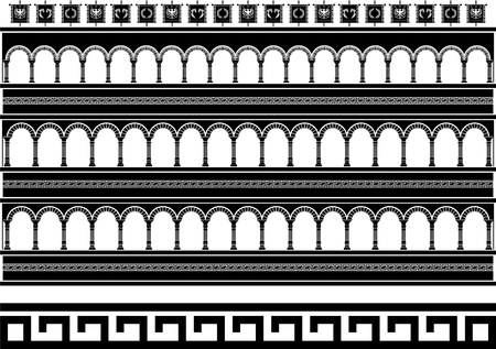 ancient roman: fantasy colosseum. stencil. vector illustration