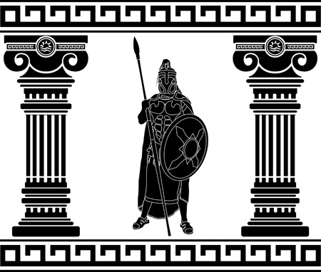 black warrior with with columns. first variant Vector