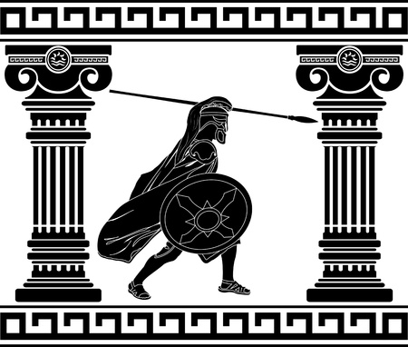 ancient greek: black warrior with with columns. second variant