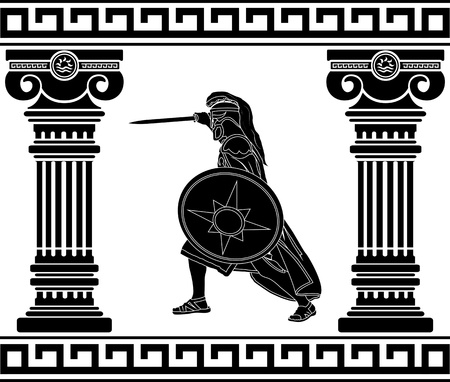 mythology: black warrior with with columns. third variant