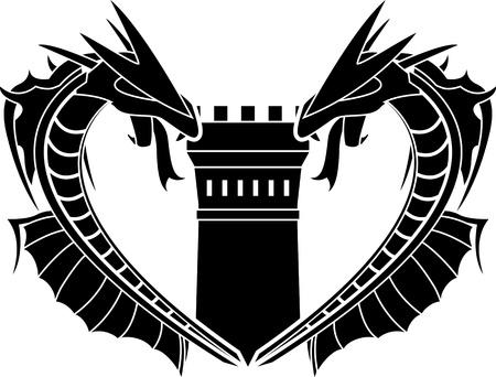 bollwerk: Drachen und Turm. Schablone. Vektor-Illustration