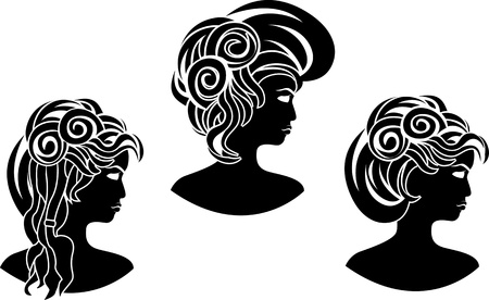 wicked set: set of wicked girl profiles. vector illustration