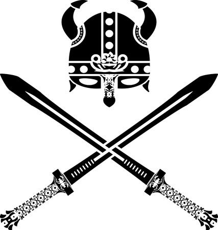 vikingo: casco vikingo y espadas. segunda variante. vector illustrationet y espadas. segunda variante