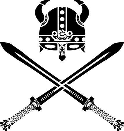 variant: viking helmet and swords. second variant. vector illustrationet and swords. second variant