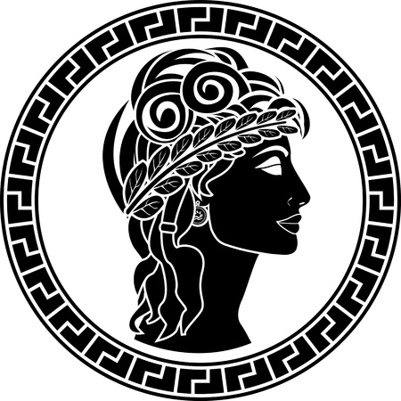 roman: black stencil of patrician women. first variant. vector illustration