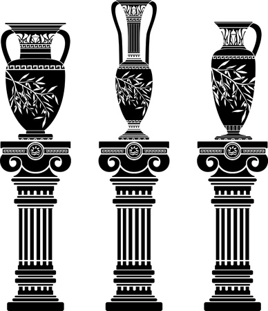 amphora: hellenic jugs with ionic columns.stencil. second variant. vector illustration