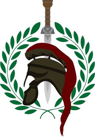 war decoration: roman helmet and sword. second variant. vector illustration