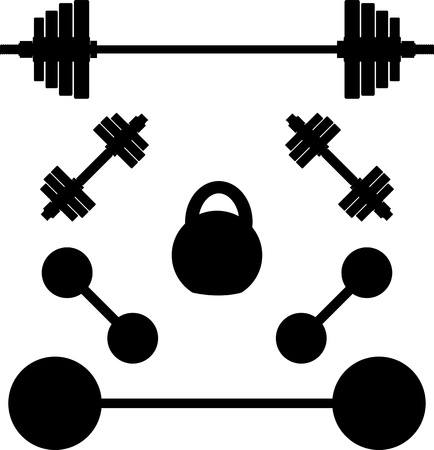 weightlifting equipment: siluetas de pesos. ilustraci�n vectorial