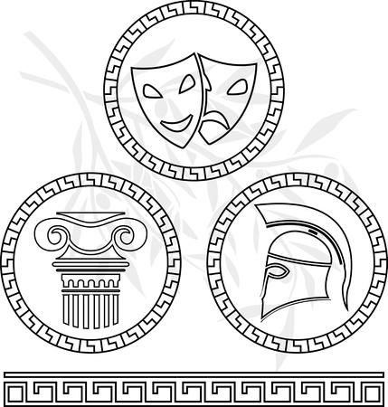 teatro antiguo: plantillas de las imágenes helénico. ilustración vectorial