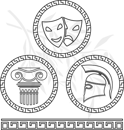ionic: stencils of hellenic images. vector illustration