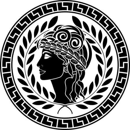 laurels: black stencil of patrician women. second variant. vector illustration