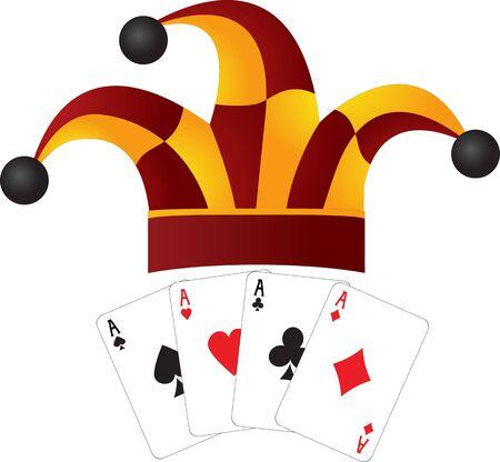 aces: clown cap and four aces. vector illustration