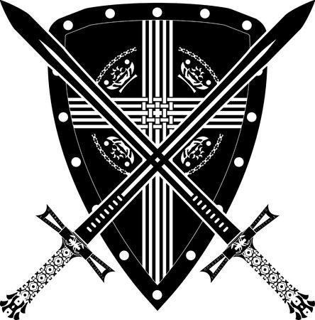 espadas medievales: medieval escudo y espada. ilustración vectorial Vectores