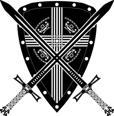 scottish: medieval shield and swords. vector illustration Illustration