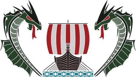 viking ship and dragons. vector illustration Vector