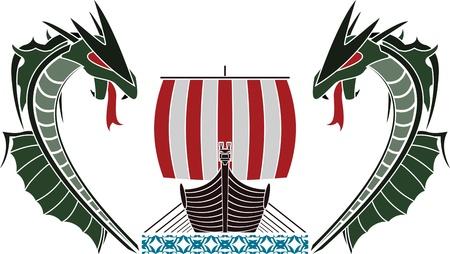 viking ship: viking ship and dragons. vector illustration Illustration