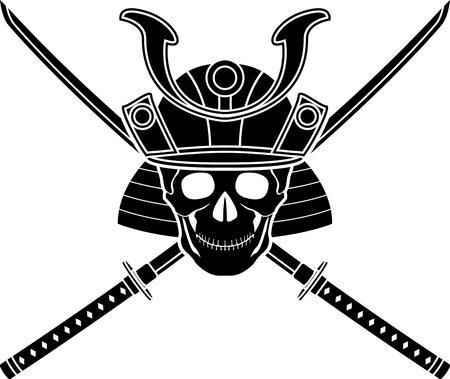 samourai: casque japonais et deux épées. illustration vectorielle