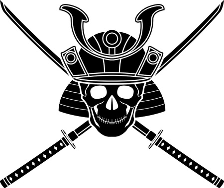 traditional weapon: japanese helmet and two swords. vector illustration